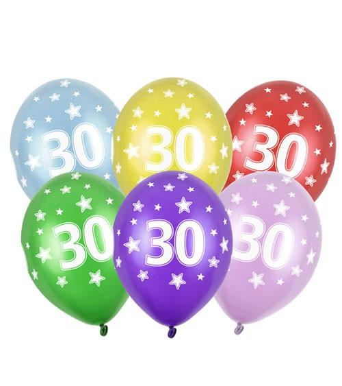 "Metallic-Luftballons ""30"" mit Sternen - 6 Stück"