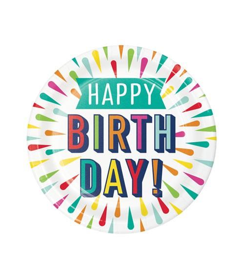"""Kleine Pappteller """"Birthday Colours"""" - Happy Birthday - 8 Stück"""