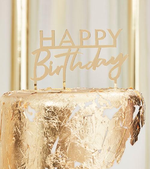 Cake Topper Aus Acryl Quot Happy Birthday Quot Gold