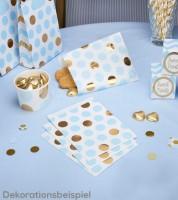 """Süßigkeitentüten """"Hellblau & Gold"""" - Punkte - 25 Stück"""