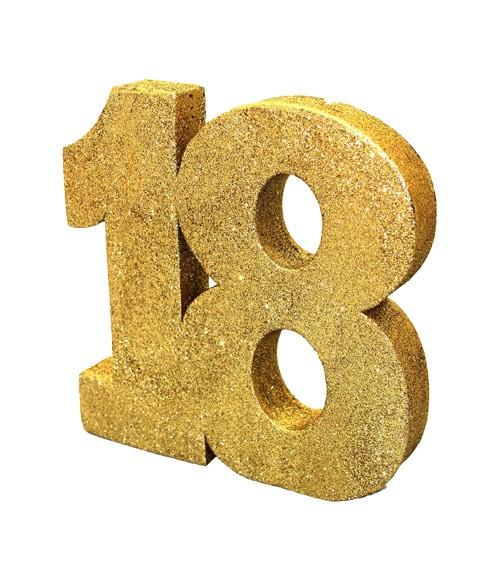 "Tischdeko Zahl ""18"" - glitter gold - 20 cm"