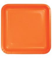 Eckige Pappteller - orange - 18 Stück