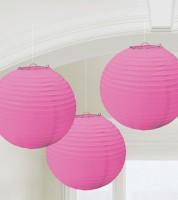 Lampion-Set - 3-teilig - 24 cm - pink