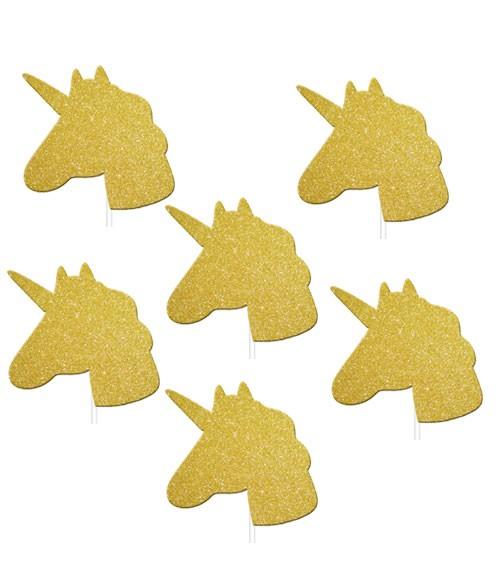 """Cupcake-Topper mit Glitter """"Einhorn"""" - gold - 12 Stück"""