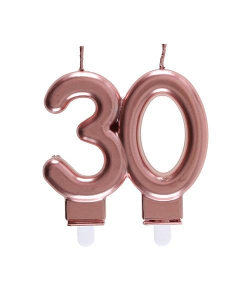 """Geburtstagskerze """"30"""" - rosegold - 7,5 x 7 cm"""
