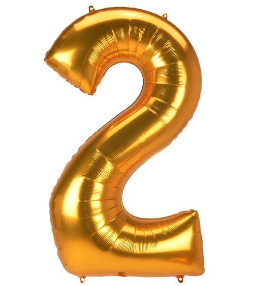 "JumboShape-Folienballon Zahl ""2"" - gold - 78 x 134 cm"