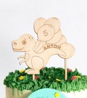 """Dein Cake-Topper """"Dino"""" aus Holz - Wunschtext"""