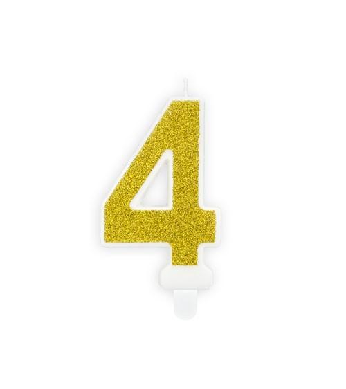 "Zahlenkerze mit Glitter ""4"" - gold - 7 cm"