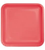 Eckige Pappteller - koralle - 18 Stück