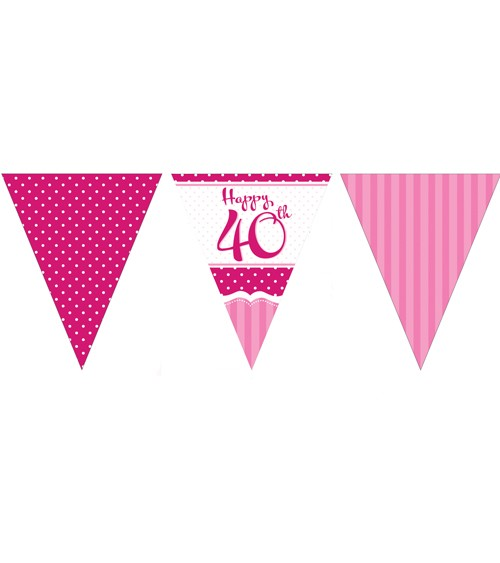 """Wimpelgirlande aus Papier """"Perfectly Pink"""" - Happy 40th - 3,7 m"""