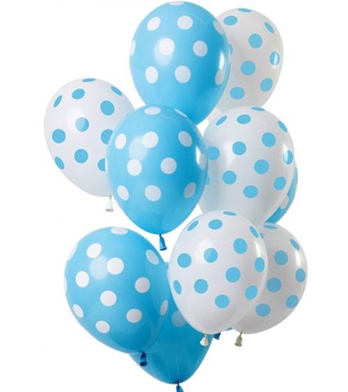 Luftballon-Set mit Punkten - Hellblau & Weiß - 12-teilig