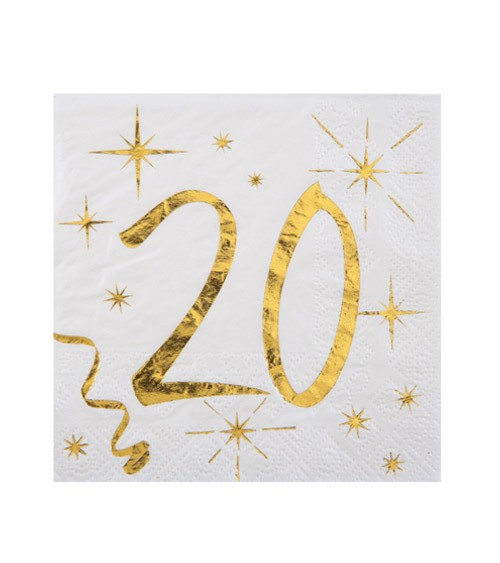 """Cocktail-Servietten """"20"""" - weiß, gold - 20 Stück"""