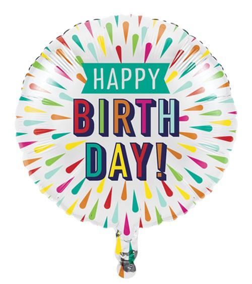 "Runder Folienballon ""Birthday Colours"" - Happy Birthday - 46 cm"
