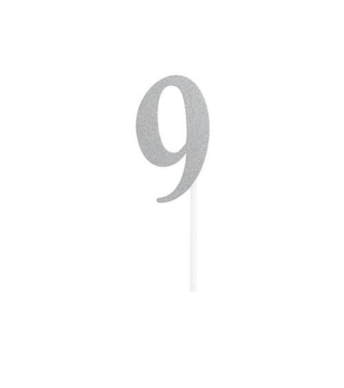 """Kuchen-Topper-Zahl aus Pappe """"9"""" - glitter silber"""