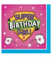 "Servietten ""Superhero Girl"" - Happy Birthday - 16 Stück"