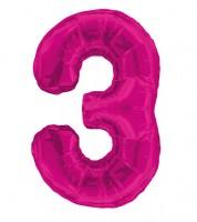 "Supershape-Folienballon ""3"" - pink"
