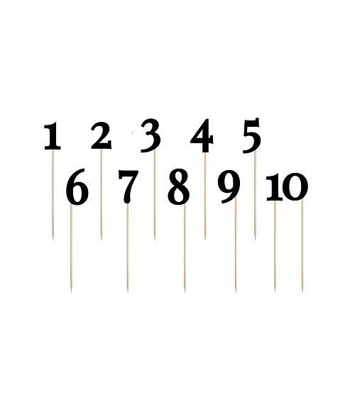 Tischnummern-Stecker aus Papier - schwarz - 1 bis 10