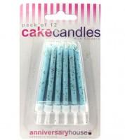 Kuchenkerzen mit Glitter - hellblau - 12 Stück