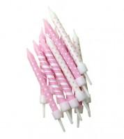 "Kuchenkerzen ""Dots & Stripes"" - rosa/weiß - 12 Stück"
