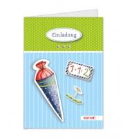 """Einladungskarten-Bastelset """"Einschulung"""" - blau - 4 Stück"""