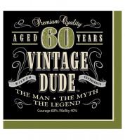 """Servietten """"Vintage Dude - 60. Geburtstag"""" - 16 Stück"""