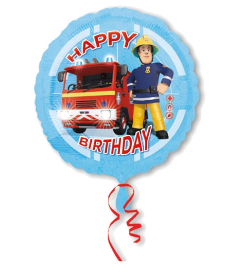 Runder Folienballon Feuerwehrmann Sam Happy Birthday
