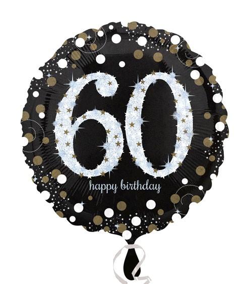 "Runder Folienballon ""Sparkling Celebration"" - 60. Geburtstag"