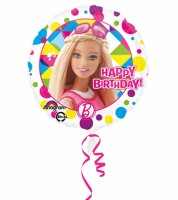 "Runder Folienballon ""Barbie"" - Happy Birthday"