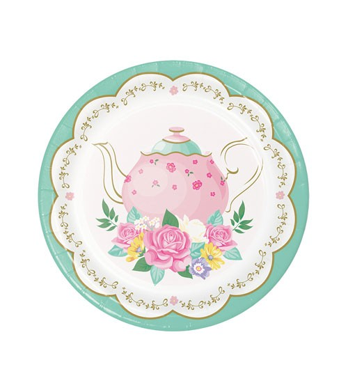 """Kleine Pappteller """"Floral Tea Party"""" - 8 Stück"""