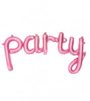 "Script-Folienballon ""Party"" - pink - 80 x 40 cm"