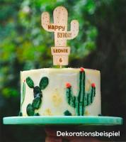 """Dein Cake-Topper """"Kaktus"""" aus Holz - Wunschtext"""