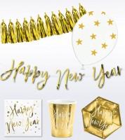 "Silvester-Deko-Set ""Happy New Year"" - weiß & gold - 40-teilig"