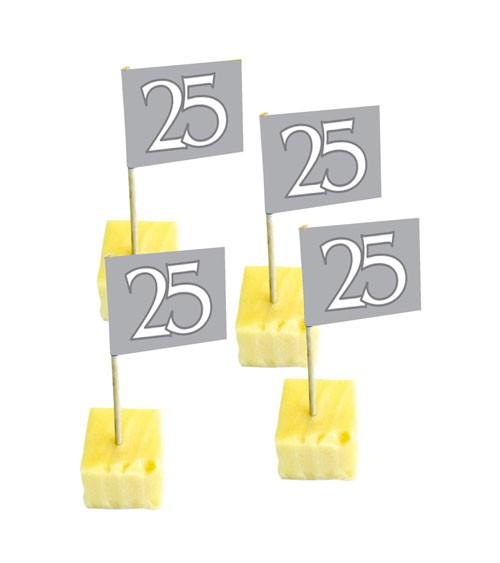 """Party-Picks """"25"""" - silber - 50 Stück"""