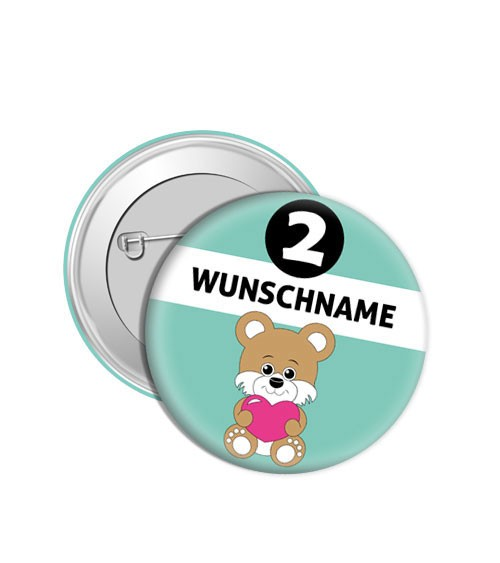 """Dein Button """"Teddybär"""" - Wunschtext"""