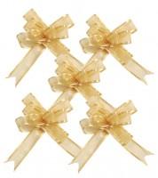Mini-Ziehschleifen aus Organza und Satin - gold - 5 Stück
