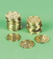 Goldmünzen aus Kunststoff - 72 Stück