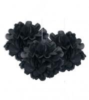 Pom Poms - schwarz - 23 cm - 3 Stück