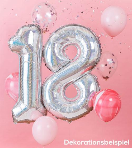 """Ballon-Deko-Set """"18. Geburtstag"""" - irisierend/rosa - 8-teilig"""