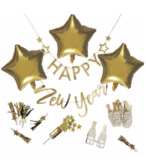 "Silvester-Deko-Set ""Happy New Year"" - metallic gold - 17-teilig"