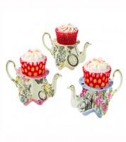 """Teekannen-Cupcake-Ständer """"Alice im Wunderland"""" - 6 Stück"""