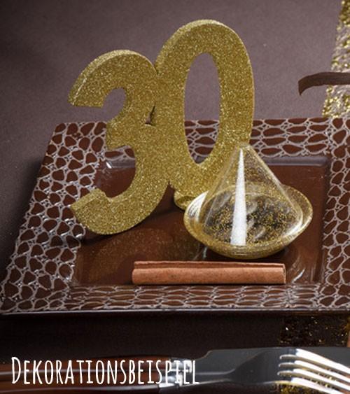 """Tischaufsteller """"30"""" - gold - 11 x 10 cm"""
