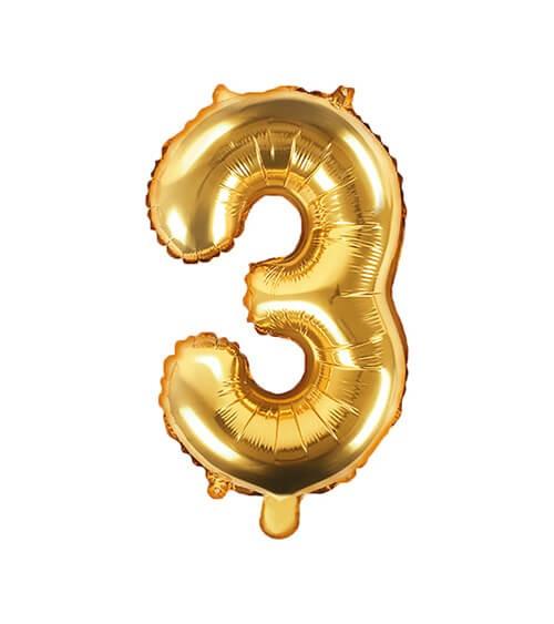 "Folienballon Zahl ""3"" - gold - 35 cm"