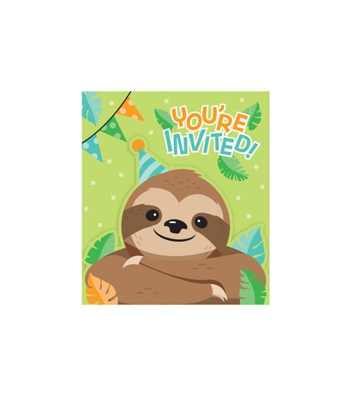 "Einladungskarten ""Faultier-Party"" - 8 Stück"