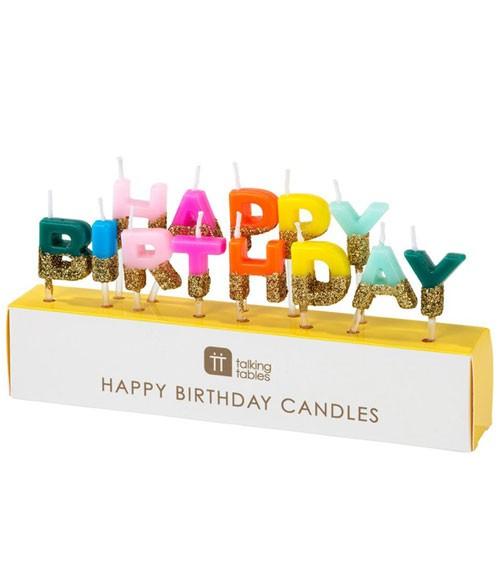 Happy Birthday-Kerzen mit Goldglitter - bunt