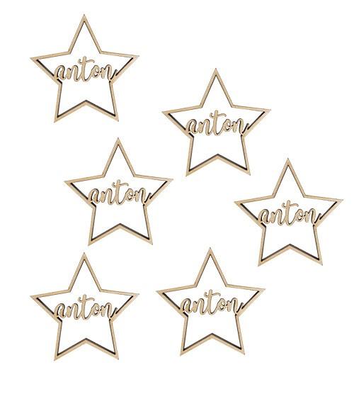 """Deine Anhänger """"Sterne"""" aus Holz - 6 Stück"""