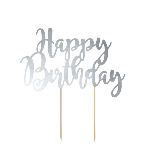 """Tortenstecker aus Papier """"Happy Birthday"""" - silber metallic"""