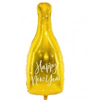 "Supershape-Folienballon Sektflasche ""Happy New Year"" - 32 x 82 cm"