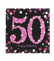 """Servietten """"Sparkling Pink"""" - 50. Geburtstag - 16 Stück"""