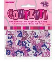 "Streukonfetti ""13"" - pink - 14 g"