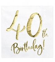 """Servietten """"40th Birthday!"""" - weiß/metallic gold - 20 Stück"""